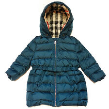 BURBERRY KIDS Catherine Teal Blue Bow Detail Down Puffer Jacket 12MONTHS (KIDS)