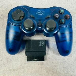 Pelican Predator Playstation 2 PS2 Wireless Controller w/ Dongle Blue Clear
