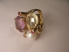 Magnificent 14K Yellow Gold Citrine Amethyst Pearl Ruby Three-Stone Ring