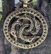SET massiv Wikinger Schlangenamulett Schlange Anhänger Rubin Bronze Lederschnur