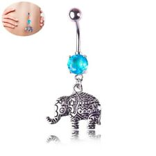 Blue Gem Belly Bar Surgical Steel Button Navel Ring Piercing Elephant Jewelry