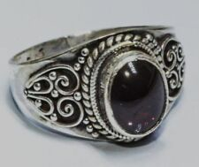 Traditional Sterling Silver Asian Vintage Style Garnet Stone Ring Size R Gift