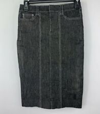 bebe BodyCon Skirt size 0 Black Chambray Hugging Stretch Denim Contrast Stitch