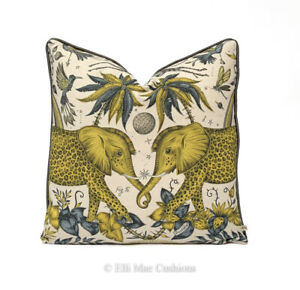 Emma Shipley Designer Zambezi Gold Elephants Gold Cushion Pillow Cover