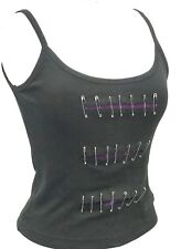 SDL Punk Gothic Purple Black Tank Top With Slits & Safety Pins Details Size S/M