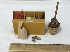 SHADOW BOX Miniature Decorative Collectibles Lot Food Farmer's Market Churn Bask