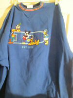 Disney Store Mickey and Friends Blue Sweatshirt Adult 2XL Crew Neck