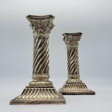 Victorian Silver Candlesticks, London 1887 Martin, Hall & Co - Twisted Column