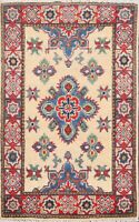 Traditional Hand-Knotted Super Kazak Geometric Oriental Area Rug Wool Carpet 2x3
