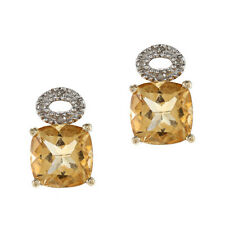 10k Yellow Gold Cushion Citrine and Pave Diamond Earrings (1/10 TDW)