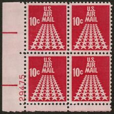 US USA Sc# C72 MNH FVF PLATE # BLOCK Fifty Star Runway Airmail Tagged