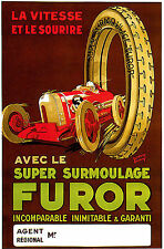 Vintage French Sports Car Furor Motor Racing Advertising Poster Art Reprint A4