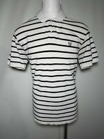 Chaps XL White & Black Striped Mens Short-Sleeve Polo / Golf Shirt - Extra Large