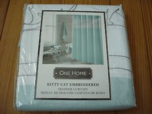 NWT ONE HOME Kitty Cat Embroidered SHOWER CURTAIN 100% Poly Aqua/Gray/White