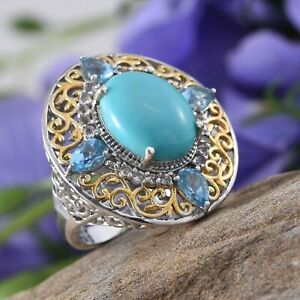Sonoran Blue Turquoise, Electric Blue Topaz, White Topaz 14K YG and Platinum Ove