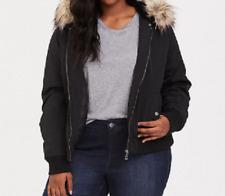 Torrid deep black faux fur hoodie bomber jacket size 1 water wind resistant sexy