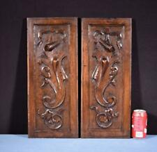 *Pair of French Hand Carved Panels in Solid Walnut Wood Salvage