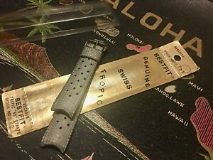 Grey 18mm Genuine Tropic Swiss diver's watch band curved ends original package