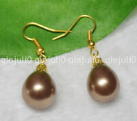 12x16mm Brown South Sea Shell Pearl Yellow Gold Plated Hook Dangle Earrings AA