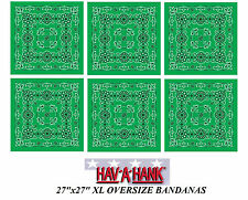 Lot 6-XL Super Grand Surdimensionné Vert Paisley 68.6cm Bandana Tête Écharpe