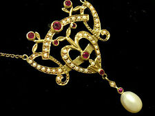 CN243- Genuine 9K SOLID Gold NATURAL Ruby Pearl Lavalier Necklace Vintage style