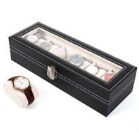 6 Slot Men Women Leather Jewelry Watch Display Case Box Storage Holder Organizer