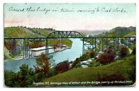 1908 Birdseye View of Wilbur, Bridge, Rondout Creek, Kingston, NY Postcard