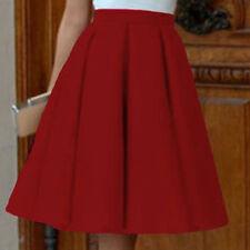 Women Elegant Party High Waist Plain Skater Pleated Long Skirt Floral Midi Dress