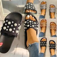 Women's Slip On Pearl Slipper Ladies Casual Mules Flip Flops Flats Shoes Size