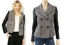 MAJE Gray Wool Jacket Double Breasted Peacoat Leather Sleeves 38 US 2 4