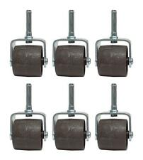 SET OF (6) BED FRAME WHEELS ROLLERS WITH PLASTIC SOCKET INSERT