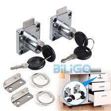 2 Cam Locks + 4 Keys For Door Cabinet Mailbox Drawer Cupboard 14-22mm