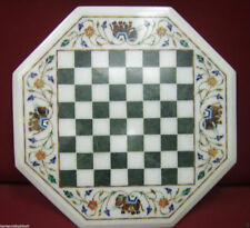 Marble Chess Game Table Top White Pietra dura Inlay Art Work