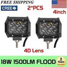 2X 4INCH 18W LED FLOOD WORK LIGHT BAR 4D OPTICAL DRIVING SUV UTE JEEP BOAT TRUCK