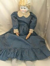 Antique Exquisitely Dressed 25� German Pink Tint China Lady Doll