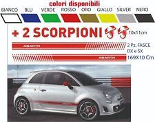 Adesivi AUTO Fiat 500 Abarth 2 strisce + 2 SCORPIONI + 2 Scudetti abarth omaggio