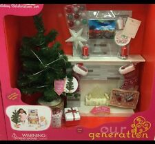 "Our Generation Holiday Celebration Fireplace Set for 18"" American Girl Dolls NEW"
