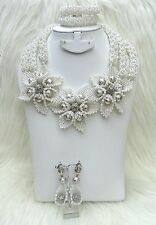 New Design White Silver Crystal 3 Layers Beads Bridal Flower Brooch Jewelry Set