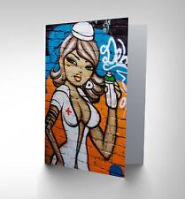 Sexy Enfermera Spray Arte grafitti en blanco tarjeta de saludos de cumpleaños art CP285