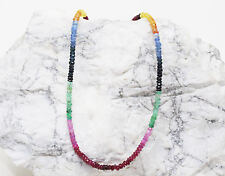 """Precious Gemstone Natural Sapphire,Ruby,Emerald,Faceted Roundel Beads 13"""" Strand"""