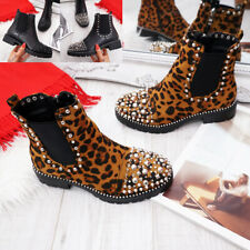 NEW WOMENS ZIP STUDDED BIKER BOOTS ANKLE GOTH ROCK STUDS WINTER LADIES SHOES
