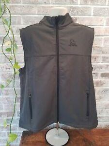 DUCKS UNLIMITED Logo Men's Grey Vest Large Zip Up Soft Sleeveless Consevation