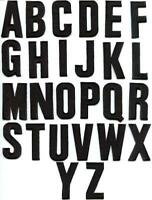 English alphabet letters black applique sew iron-on patch new your choice