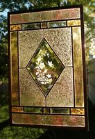Stained Glass Window Panel butterfly flowers gold beveled glass champagne peach