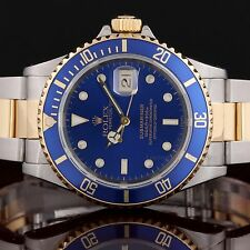 Rolex Stainless Steel & 18K Yellow Gold Submariner 16613, Blue Dial -