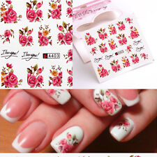 2x Nail Water Stickers Transfers Beaty Fingers Rose Flowers Makeup Gel Polish