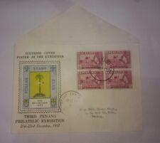 Malaya 1957 Penang Philatelic Exhibition FDC c/w Queen QE2 4v block stamp