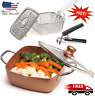 Copper 5 Piece Set Chef Cookware, Non Stick Pan, Deep Square Pan, Fry Basket, St