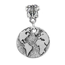 Earth Globe Planet 2 Sided Circle Dangle Charm for Silver European Bead Bracelet