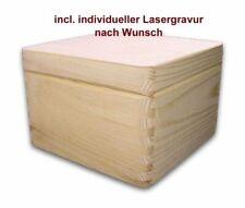 quadratische Aufbewahrungsbox/ Holzkiste CUBE, Kiefer unbeh., incl. Lasergravur